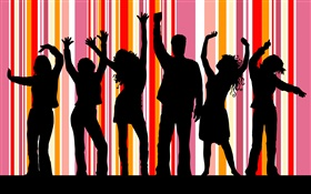 Dance people, striped background, vector design HD wallpaper
