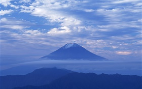 Dawn, blue style, clouds, Mount Fuji, Japan HD wallpaper