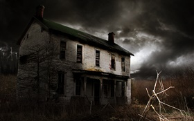 Dilapidated old house, lightning, clouds HD wallpaper