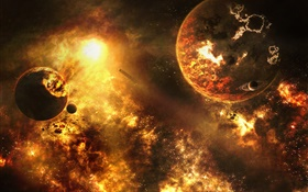 Doom space, planets collide, disaster HD wallpaper