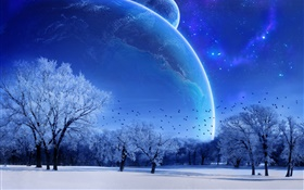 Dream world, winter, trees, birds, planets, blue style HD wallpaper