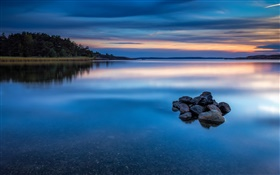 Dusk, lake, water, stones, trees, Norway nature landscape HD wallpaper