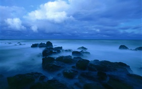 Dusk, sea, coast, rocks, clouds, blue style HD wallpaper