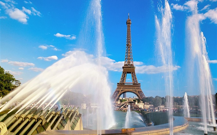 Eiffel Tower, France, Paris, fountain, water Wallpapers Pictures Photos Images