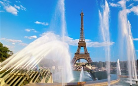 Eiffel Tower, France, Paris, fountain, water HD wallpaper