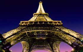 Eiffel Tower, look up, lights, night, Paris, France HD wallpaper