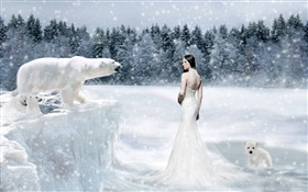 Fantasy girl and polar bears, cold HD wallpaper