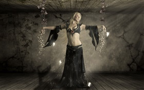 Fantasy girl, blonde, magic, fairies HD wallpaper