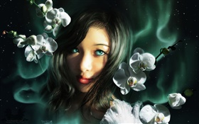 Fantasy girl, blue eyes, orchids HD wallpaper