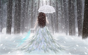 Fantasy girl in the winter forest, snow, umbrella, back view HD wallpaper
