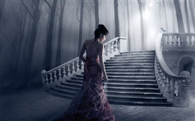 Fantasy girl, night, stairs, trees HD wallpaper