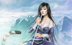 Fantasy girl play flute, tail HD wallpaper