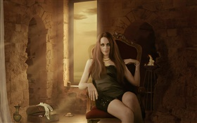 Fantasy girl sit at chair, room, candle, jewelry HD wallpaper