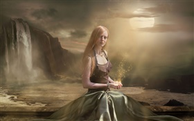 Fantasy girl sit down, magic, moon HD wallpaper