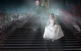 Fantasy girl, white dress, stairs, shoes HD wallpaper