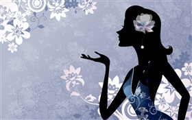 Fashion vector girl, flowers, blue background HD wallpaper
