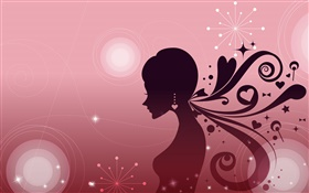Fashion vector girl, hair style, pink background HD wallpaper