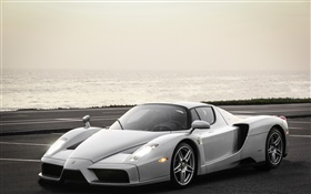 Ferrari Enzo silver supercar HD wallpaper