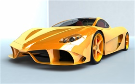 Ferrari yellow supercar front view HD wallpaper