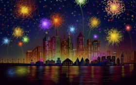 Festival fireworks, city, night, buildings, vector