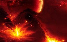 Fiery planet, erupting flames HD wallpaper