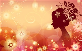 Flowers background, vector girl, orange style
