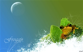 Frog, snow, green leaf, creative pictures HD wallpaper
