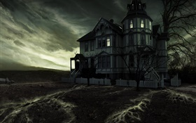 Ghost castle, night, trees, creative design HD wallpaper