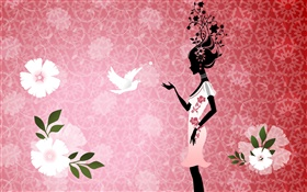 Girl and pigeon, bird, flowers, pink background, vector design pictures HD wallpaper