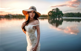 Girl at riverside, hat HD wallpaper