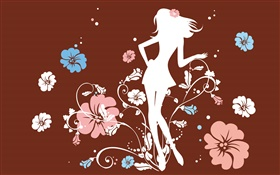 Girl in the flowers, vector design HD wallpaper