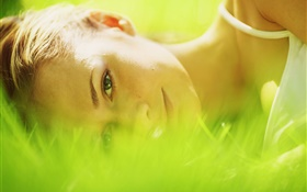 Girl lay in grass, green HD wallpaper
