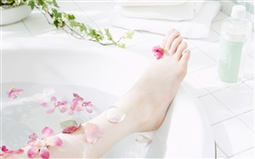 Girl leg, petals, bathtub, SPA theme HD wallpaper