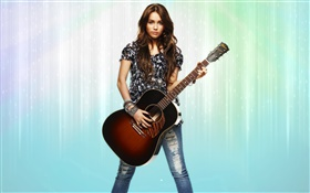 Girl play guitar, long hair HD wallpaper