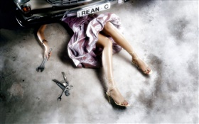 Girl repair car, beautiful legs, creative pictures HD wallpaper