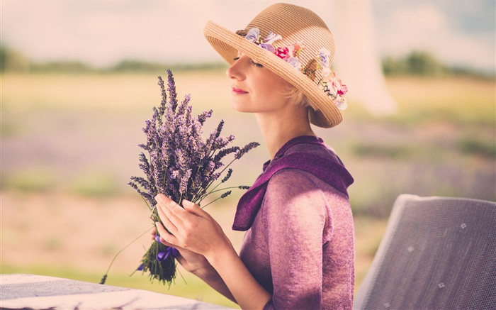 Girl with lavender flower, hat, chair Wallpapers Pictures Photos Images