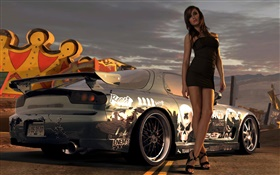 Girl with supercar HD wallpaper