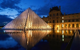 Glass pyramid, France, Louvre HD wallpaper