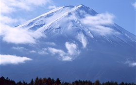 Great mountain, Mount Fuji, clouds, Japan HD wallpaper