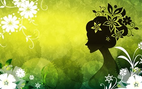 Green background, beautiful vector girl, flowers