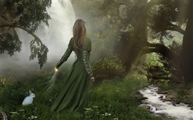 Green dress fantasy girl in the forest, white rabbit HD wallpaper