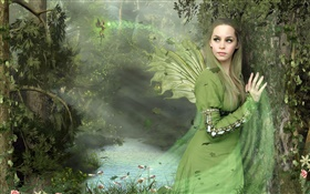 Green dress fantasy girl, wings, fairy HD wallpaper