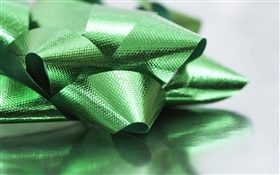 Green ribbon, Christmas decoration HD wallpaper
