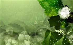 Green style background, vector girl, flowers