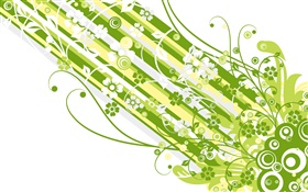 Green style, strips, flowers, vector design HD wallpaper