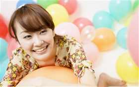 Happy Asian girl, colorful balloons HD wallpaper