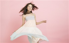 Happy Asian girl, pink background HD wallpaper