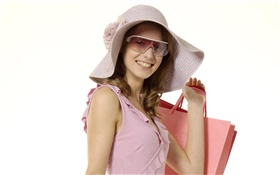 Happy shopping girl, pink dress, hat, sunglass HD wallpaper