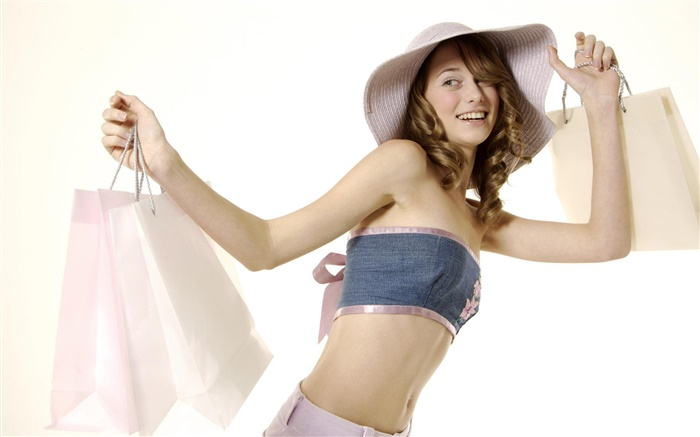 Happy shopping girl, smile, hat Wallpapers Pictures Photos Images