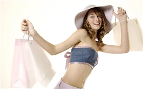 Happy shopping girl, smile, hat HD wallpaper